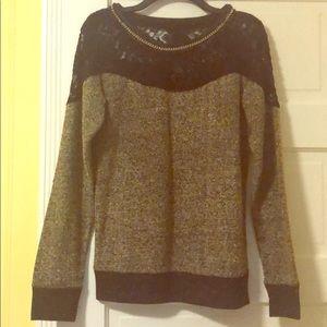 Miss Me sweater w/ black lace detail
